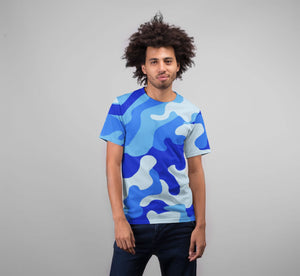 Men's Blue Camo 2 Premium Sublimation Adult T-Shirt