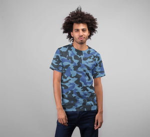 Men's Blue Camo Premium Sublimation Adult T-Shirt