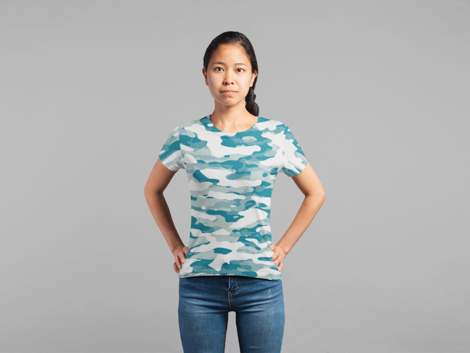 Ladies Blue Camouflage Pattern Mosaic Style Plakat Classic Sublimation T-Shirt