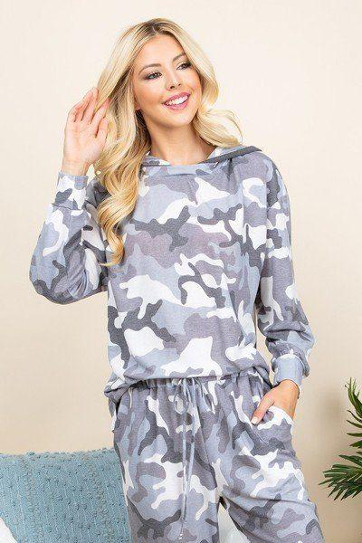 Ladies Army Camo French Terry Printed Hoodie