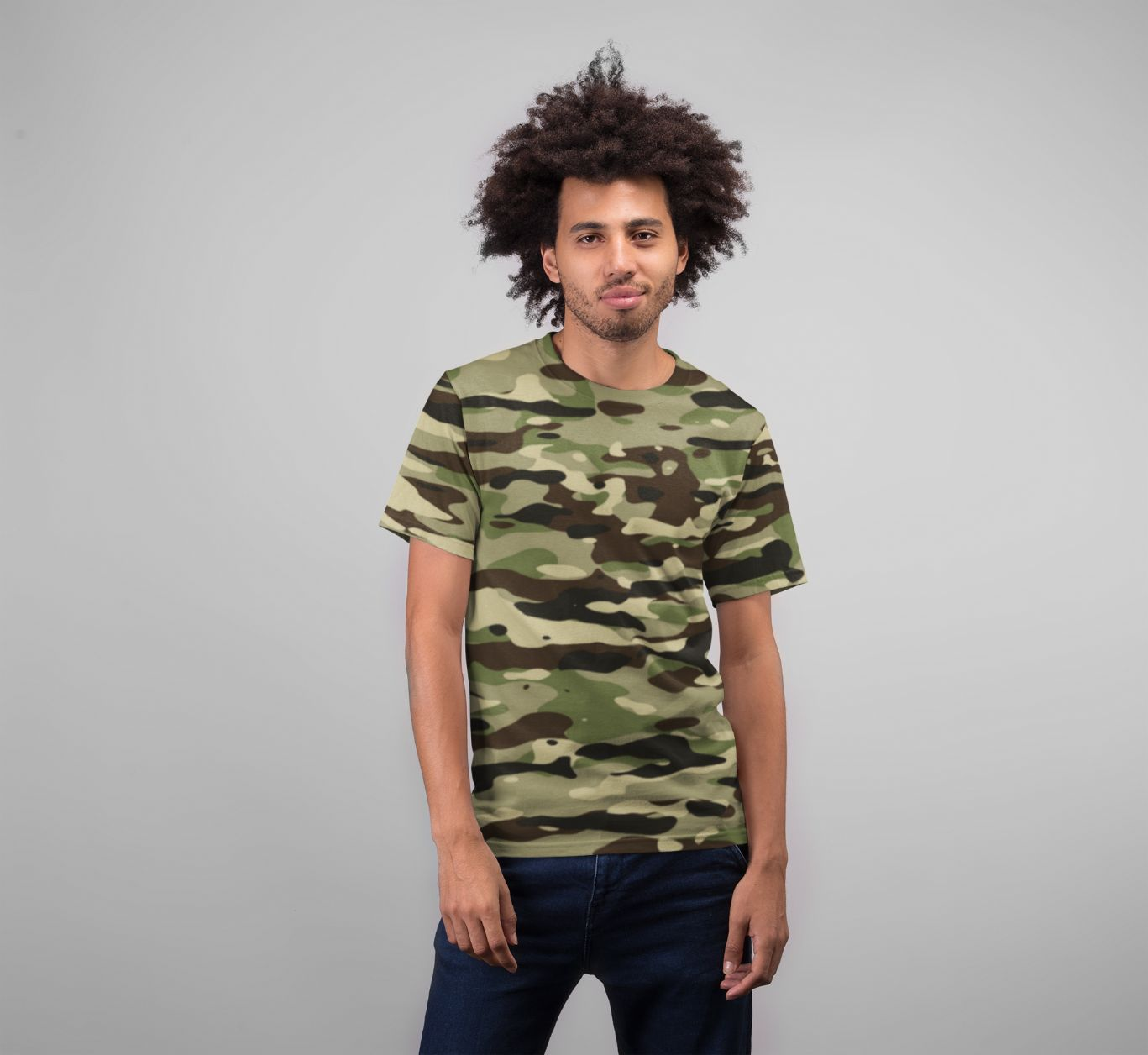 Men's Camouflage Pattern Plakat Premium Sublimation Adult T-Shirt