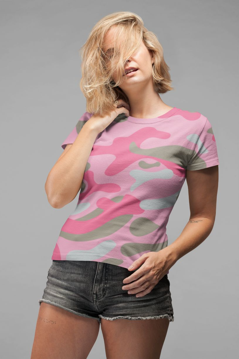 Ladies Dark Pink Camo Classic Sublimation T-Shirt