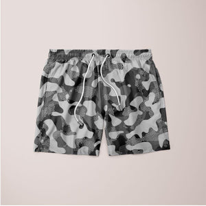 Men's Grey Pattern Camouflage & Mosaic Style Plakat Shorts