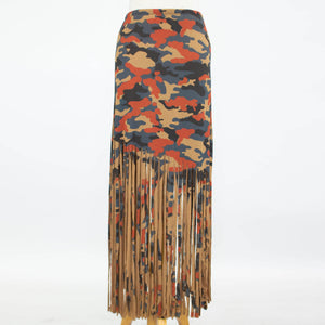 Ladies Camouflage Print Skirt with Fringe - Mocha
