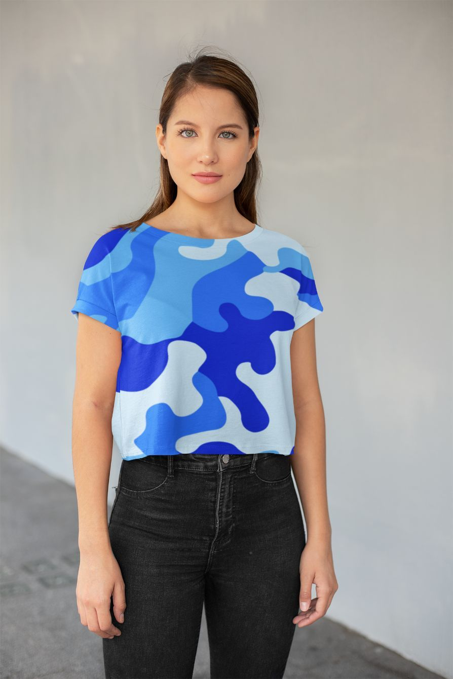 Ladies Blue Camo 2 All-Over Print Crop Tee