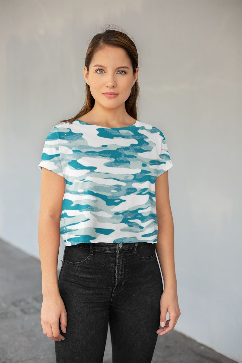 Ladies Blue Camouflage Pattern Mosaic Style Plakat All-Over Print Crop Tee