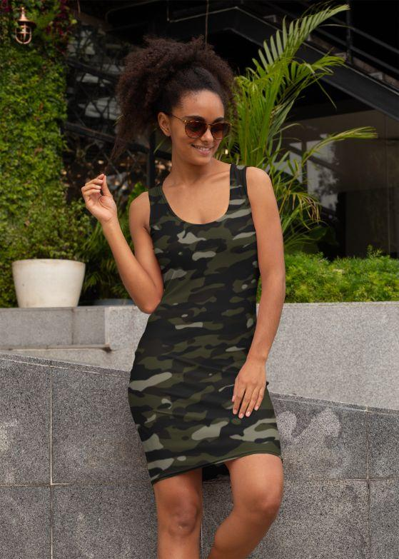 Ladies Dark Camouflage Pattern Plakat Sublimation Cut & Sew Dress