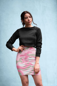 Ladies Dark Pink Camo Pencil Skirt