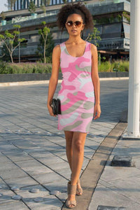 Ladies Dark Pink Camo Sublimation Cut & Sew Dress