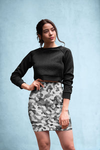 Ladies Grey Pattern Camouflage & Mosaic Style Plakat Pencil Skirt