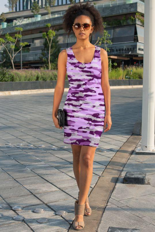 Ladies Purple Camouflage Pattern Mosaic Style Plakat Sublimation Cut & Sew Dress