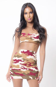 Ladies Camo Print Spaghetti Strap Skirt Set