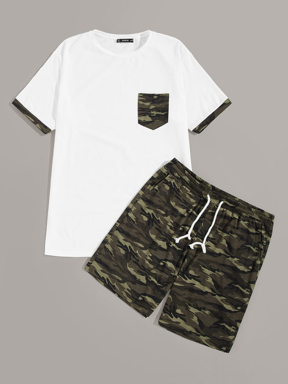 Men Pocket Patched Tee and Camo Shorts Set - StyleCamo