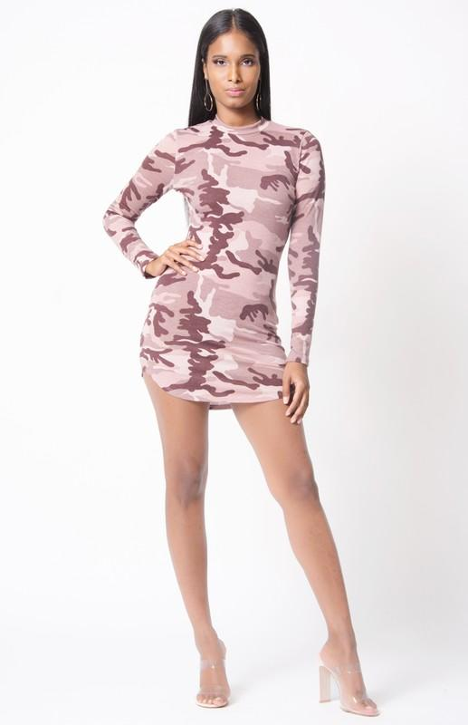 Long Sleeve Mock Neck Camo Dress, Camo, StyleCamo, StyleCamo