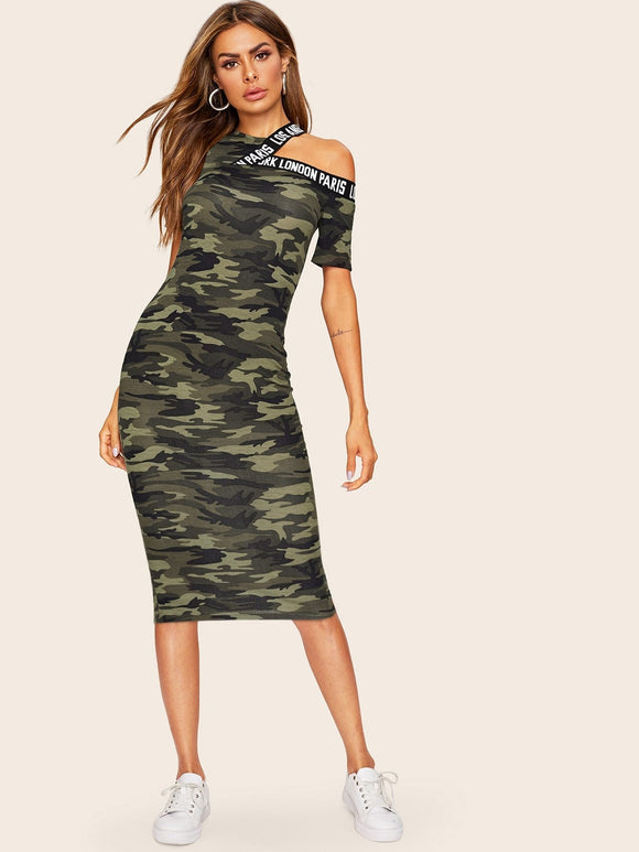 Asymmetrical Shoulder Letter Tape Camo Dress, [product_type], StyleCamo, StyleCamo