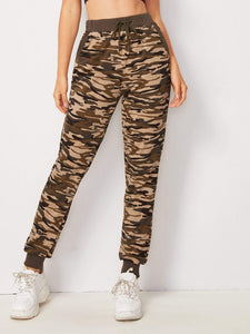 Ladies Camo Print Drawstring Waist Pants
