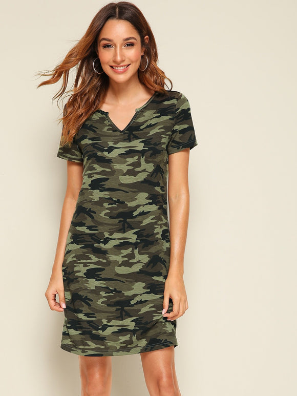 V-cut Collar Camo Print Top, [product_type], StyleCamo, StyleCamo