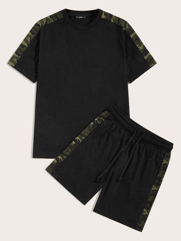Men Camo Side Tee and Drawstring Waist Shorts Set - StyleCamo