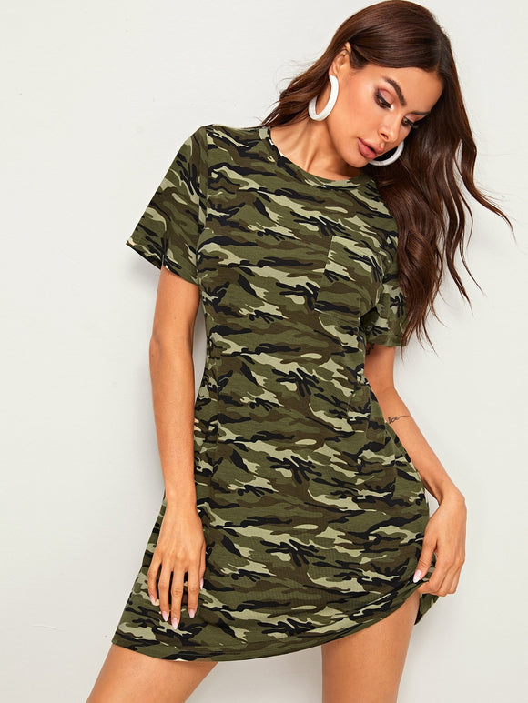 Rib-knit Patch Pocket Camo Print Dress - StyleCamo