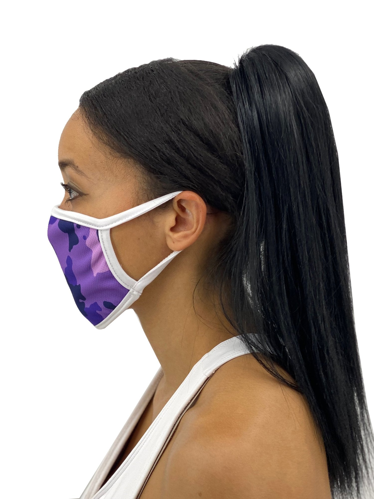 Purple Camo Face Mask With Filter Pocket Unisex