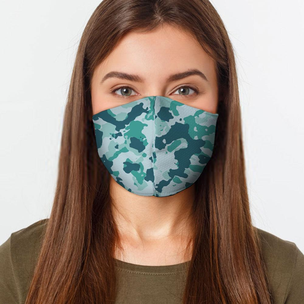 Teal Camo Face Cover Unisex