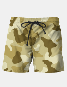 Men's Yellow Sand Camouflage Army Pattern Swim Shorts