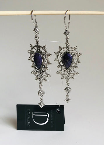 Silver filigree earrings with charoite