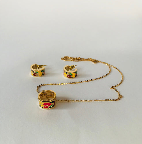 Enamel set: necklace and earrings