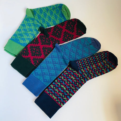 Socks with traditional pattern