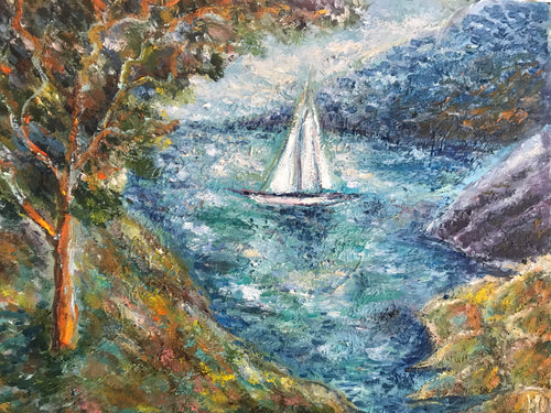 View with boat, canvas, oil
