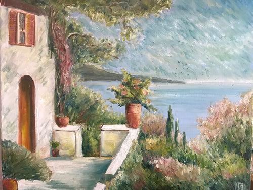 View in Italy, canvas, oil