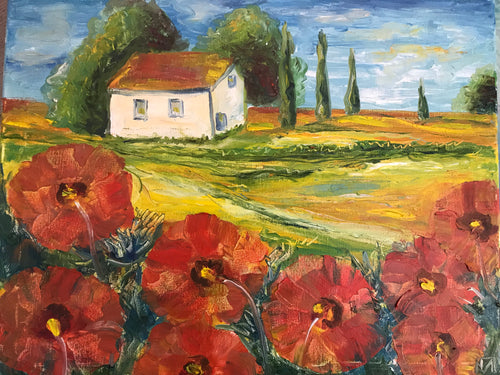Poppy flowers in Provence, canvas, oil