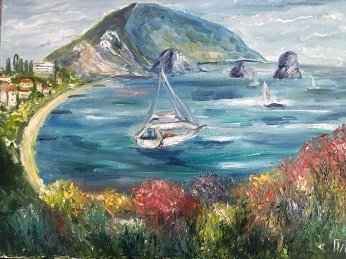 Sea bay with boat, canvas, oil