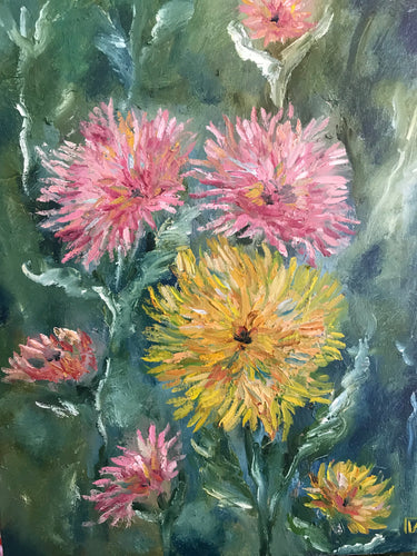 Flowers, canvas, oil