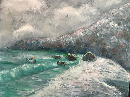 Storm in a bay, canvas, oil