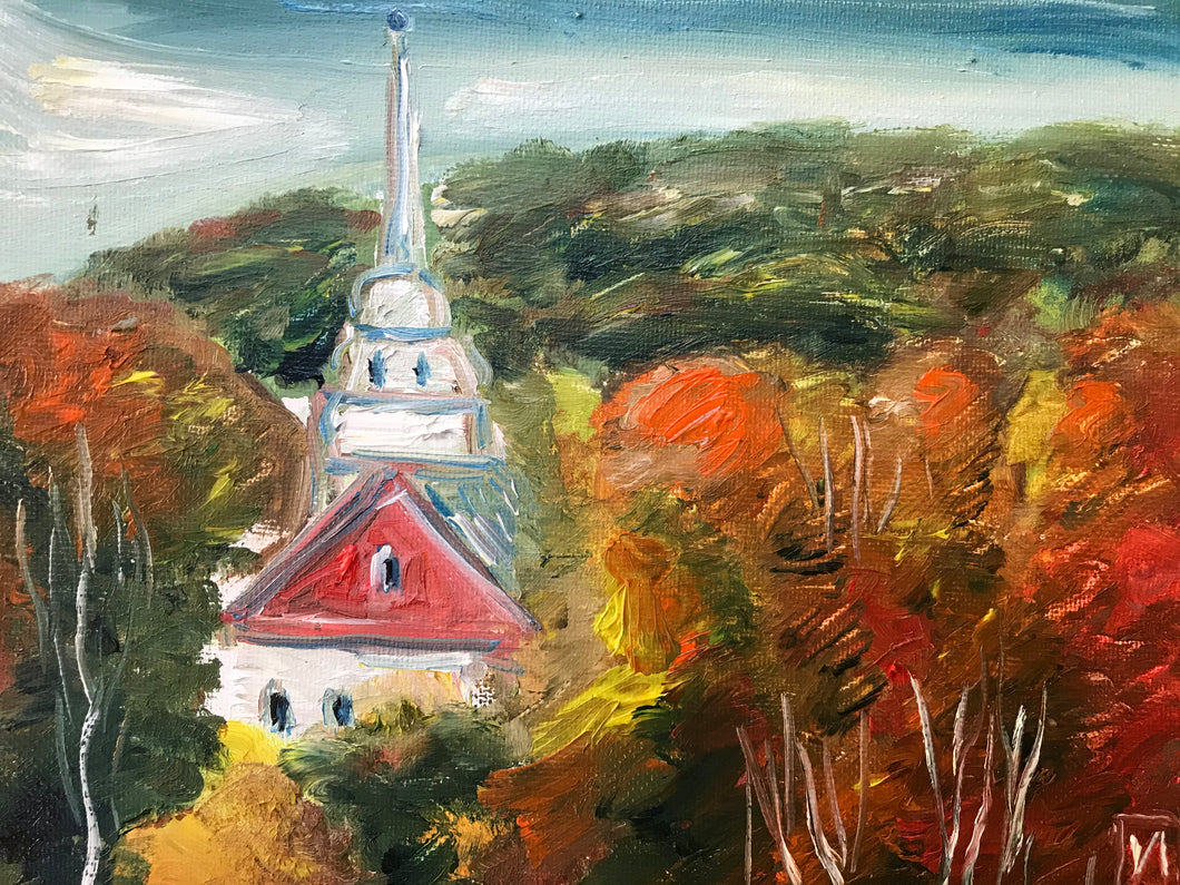 Old American church, oil on canvas