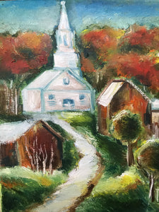 Church in New England, oil on canvas