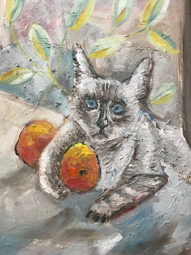Cat with peaches, oil on canvas