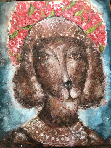 Dog in Russian head piece, oil on canvas