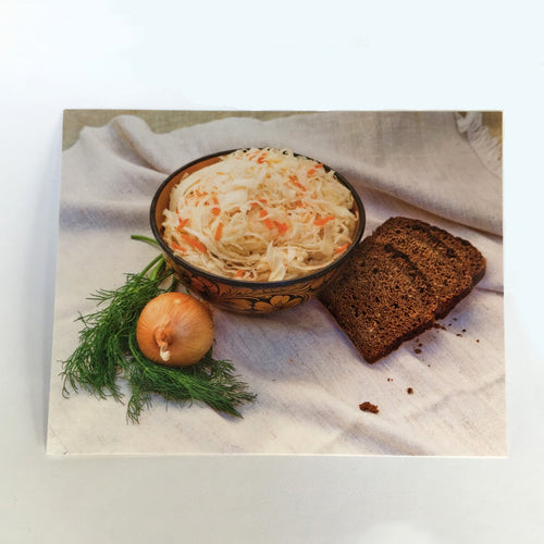 Postcard with traditional Russian souerkraut