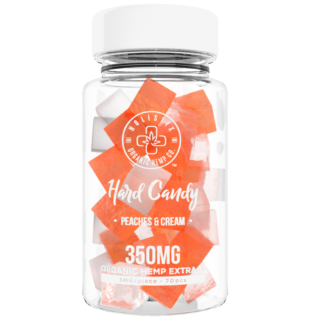 Organic Hemp Extract Candy, 350 mg - Gluten Free, Non-GMO, USDA Certified Vegan Harding Sucking Sweets - Relieve Stress, Boost Mood – 70 Candies, Peach and Cream – by Holistix Hemp Co
