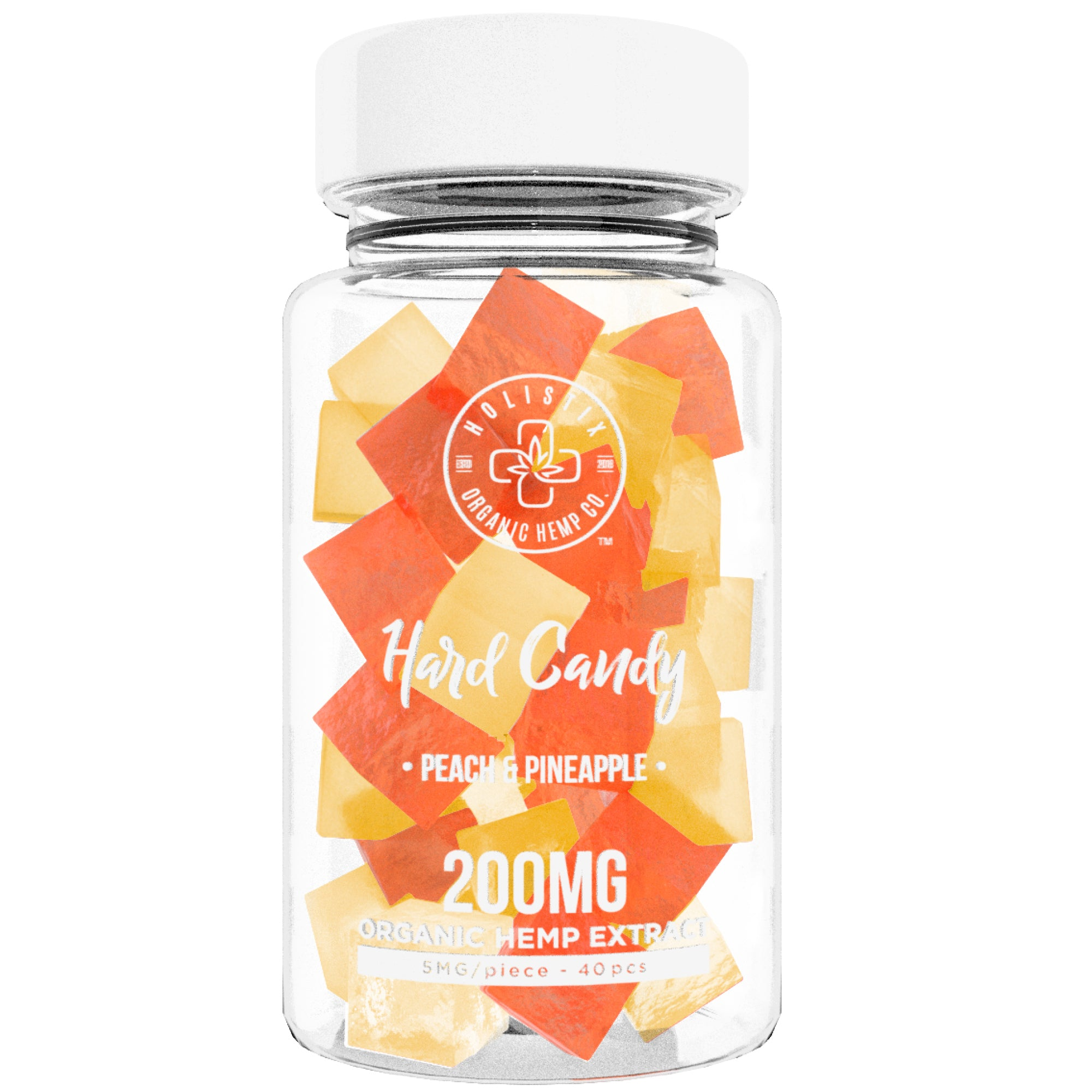 Organic Hemp Infused Hard Candy, 200 mg (5mg/piece) - Made with Organic Beet Sugar - Relieve Stress, Boost Mood, Gluten Free, Non-GMO, USDA Certified Vegan 40 Candies, Peach and Pineapple