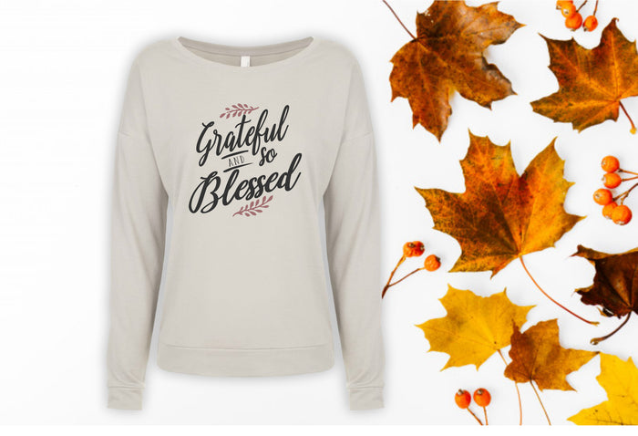 Grateful and so Blessed Long Sleeve Scoop Tee