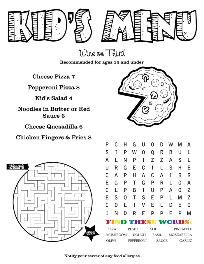 Children's Menus