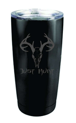 Just Hunt - Deer Skull 20oz & 30oz Tumbler - Silver and Black Matte