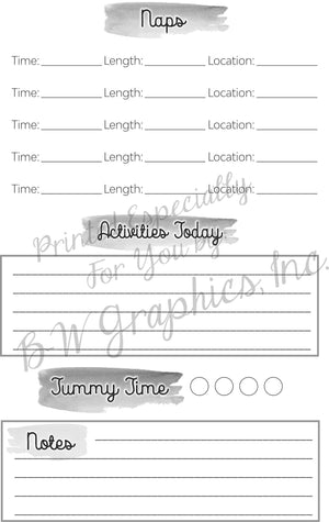 Baby Schedule Tracker Booklet - Grayscale