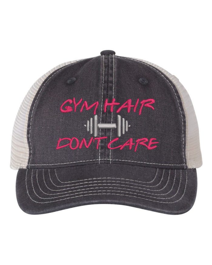 Gym Hair Don't Care Weight Lifting Embroidered Mesh Back Cap