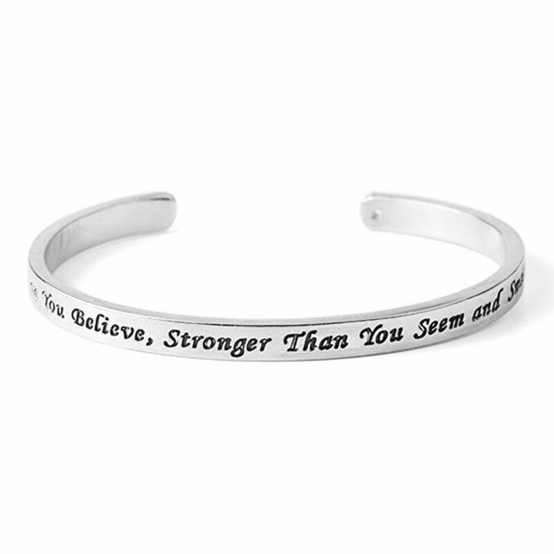 """You're Braver Than You Believe, Stronger Than You Seem and Smarter Than You Think"" - Inspirational Bracelet"