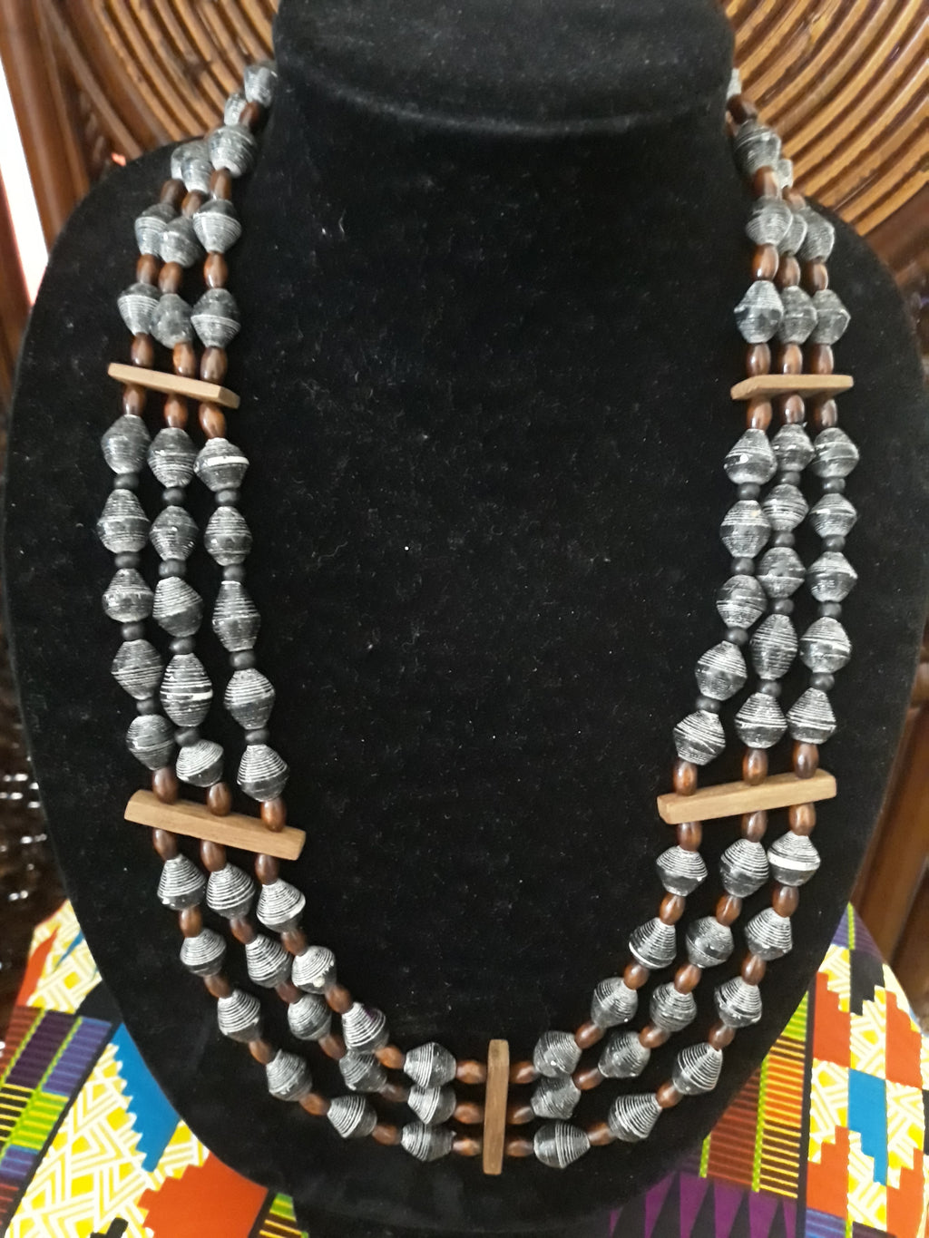 Black Sead Beads, Wooden Dividers and Beads
