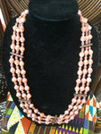 Three Layer Pink Paper Bead Necklace